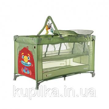 Детская кровать манеж для играющего малыша CARRELLO Molto CRL-11604 Cameo Green со вторым дном