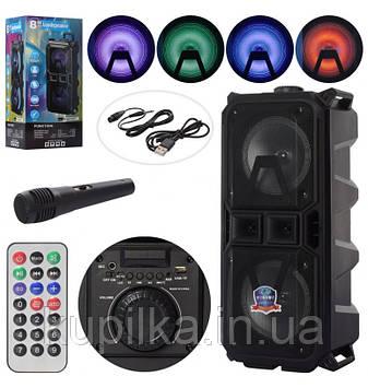 Bluetooth колонка со световыми эффектами, пультом д/у LT-2801XBT в комплекте микрофон