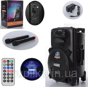 Аккумуляторная, портативная Bluetooth колонка-чемодан на колесах с ручкой LT-1206 в комплекте два микрофона