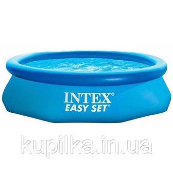 Семейный круглый наливной бассейн Intex 28116 из прочного ПВХ (размер 305х61 см), цвет синий