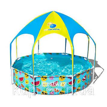 Круглый бассейн с навесом и металлическим каркасом Bestway 56432 (размер 244х51 см) (объем 1688 л)