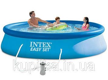 Надувной семейный бассейн в комплекте с насосом 220-240 V Easy Set Intex 28142 NP (размер 396х84 см), синий