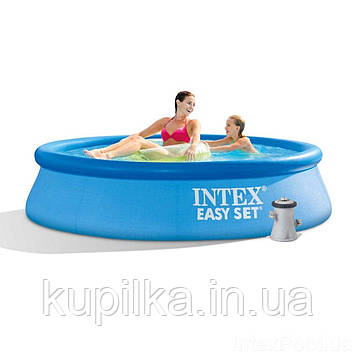 Надувной бассейн Intex 28108 в комплекте с фильтр-насосом мощностью 1250 л/ч (размер 244х61 см), синий