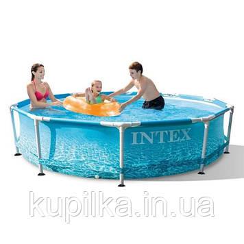 Круглый бассейн для улицы Intex 28206 с Морским принтом, металлическим каркасом, (размер 305*76 см)