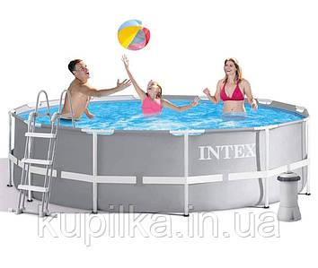 Семейный каркасный бассейн с лестницей, насосом и сливным клапаном Intex 26716, (размер 366 x 99 см)