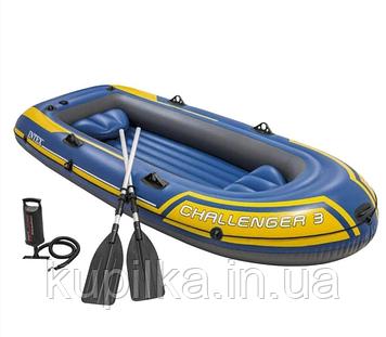 Надувная трехместная лодка с надувным дном, веслами и ручным насосом в комплекте 68370 NP Challenger 3