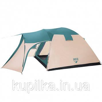 Палатка туристическая 5 местная Bestway 68015, размер (200+305)*305*200 см, антимоскитная сетка, сумка