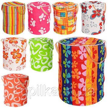 Самораскрывающаяся корзина из плотной ткани для хранения детских игрушек M 1302 (8 дизайнов)