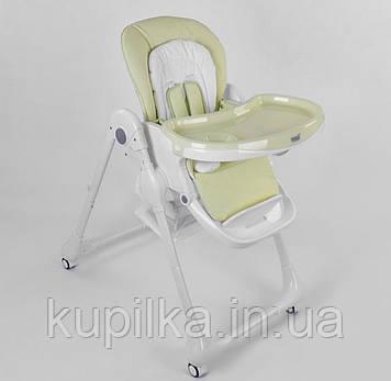 Детский стульчик для кормления ребенка, с регулируемой спинкой и съемным столиком Toti W-56077, зеленый