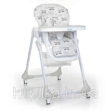 Складной стульчик для кормления с регулируемой спинкой, подножкой и высотой Bambi M 3233 Raccoon Gray, серый