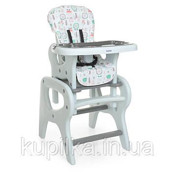 Детский стульчик для кормления 2 в 1, трансформер со съемной столешницей BAMBI 0816 Flowers Gray, (серый)