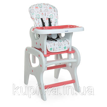 Стульчик трансформер 2 в 1 для кормления ребенка, с ремнем безопасности BAMBI 0816 Flowers Pink (розовый)