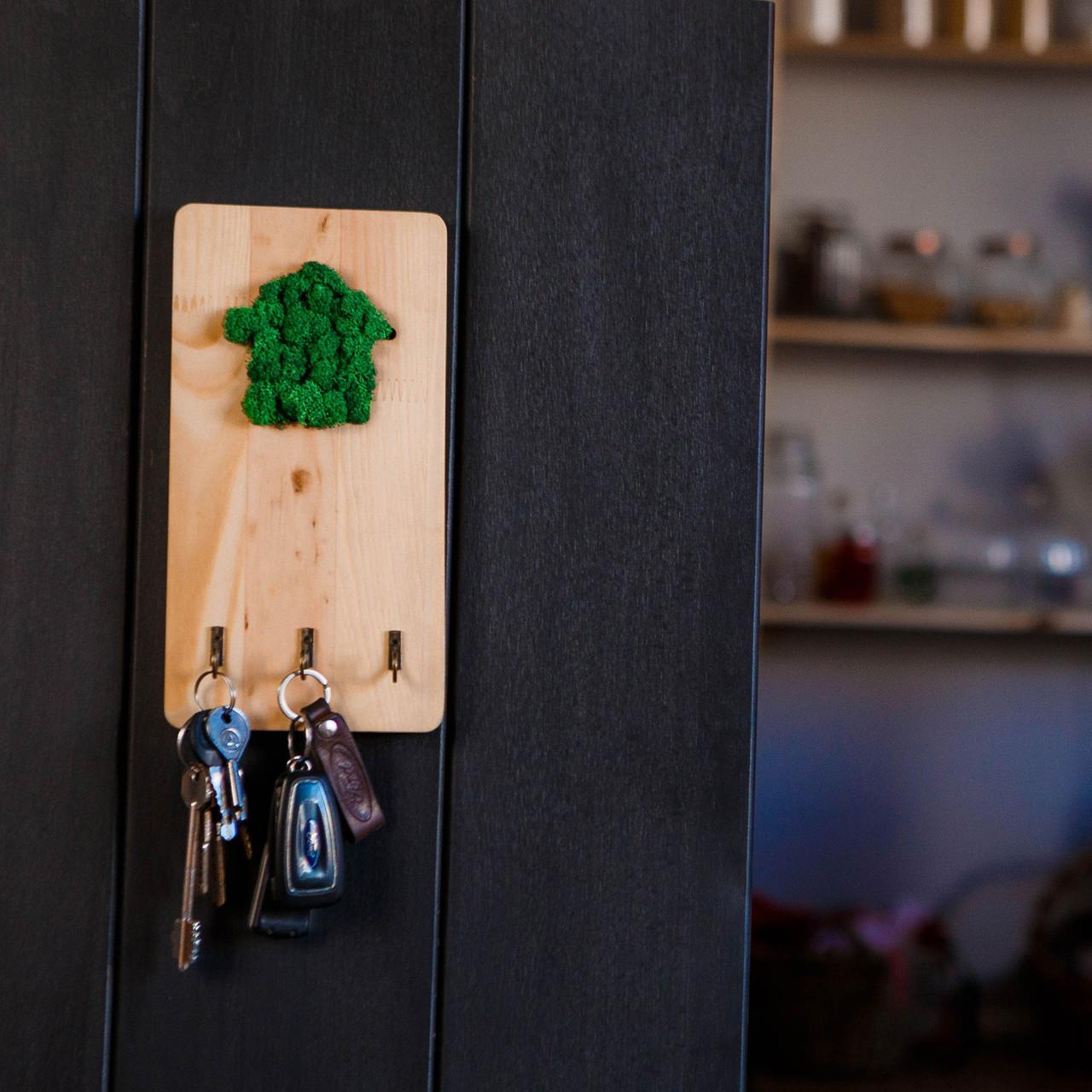 Ключниця дерев'яна з мохом. Для ключів