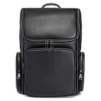 Мужской кожаный рюкзак для ноутбука Tiding Bag Черный из натуральной кожи
