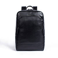 Мужской кожаный рюкзак для ноутбука черный Tiding Bag Мужские рюкзаки из натуральной кожи
