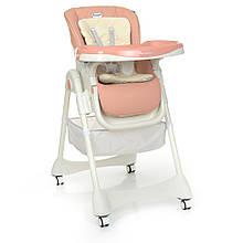 Детский стульчик для кормления DESSERT 1086 Pink, экокожа, матрасик
