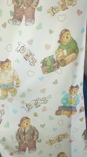 """Штора детская """"Тедди"""" зеленая"""