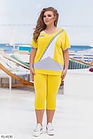 Яскравий жіночий костюм літній красивий футболка-туніка і бриджі великих розмірів 48-62 арт. 869