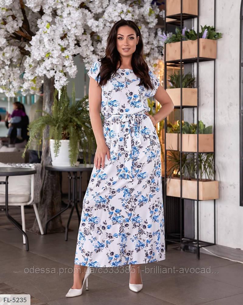 Женское батальное платье в цветочный принт, большой размер 48 50 52 54 56 58 60 62
