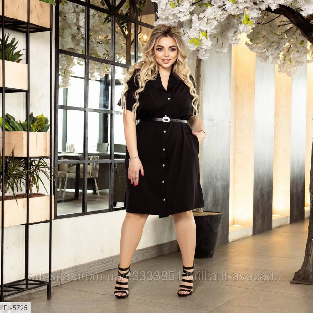 Женское батальное платье однотонное рубашка по колено большой размер 50 52 54 56 58 60