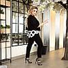 Женский модный брючный батальный костюм тройка (блузка жакет и брюки) большой размер 50 52 54 56 58 60 62 64, фото 2