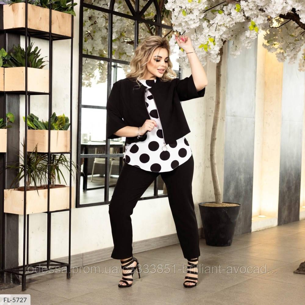 Женский модный брючный батальный костюм тройка (блузка жакет и брюки) большой размер 50 52 54 56 58 60 62 64