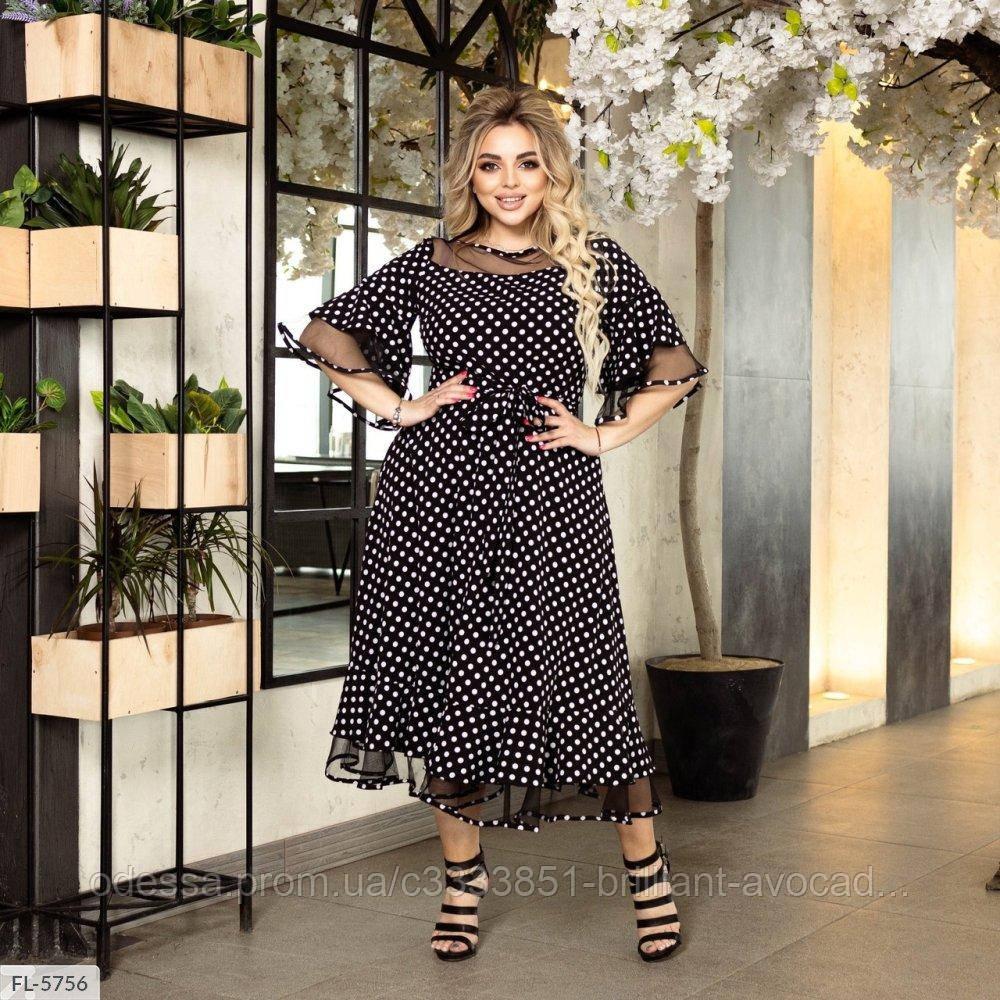Женское красивое батальное летнее шифоновое платье в горох, большой размер 50 52 54 56 58 60