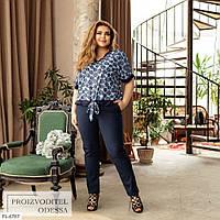 Костюм жіночий літній повсякденний блуза з брюками великих розмірів батал 50-62 арт.136