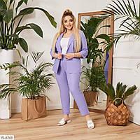 Деловой брючный костюм женский классический летний ткань лен пиджак и брюки больших размеров 50-58 арт. 0023, фото 1