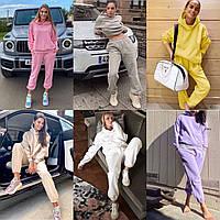 Стильный женский костюм 2021; свитшот-штаны; белый, беж, лаванда, серый, лимон, розовый; 42/44, 44/46;