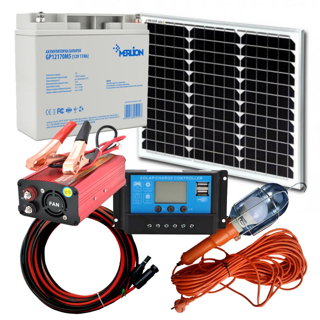 40 Вт комплект сонячної станції Відпочинок-40 + 220В Освітлення 12В на 10Вт, USB зарядка + 220В