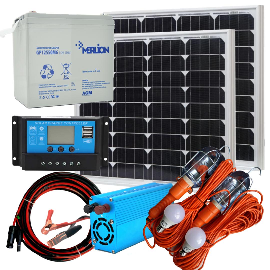 100 Вт комплект солнечной станции Отдых-100 компакт + 220В Освещение 12В на 2 лампы по 10Вт+USB зарядка