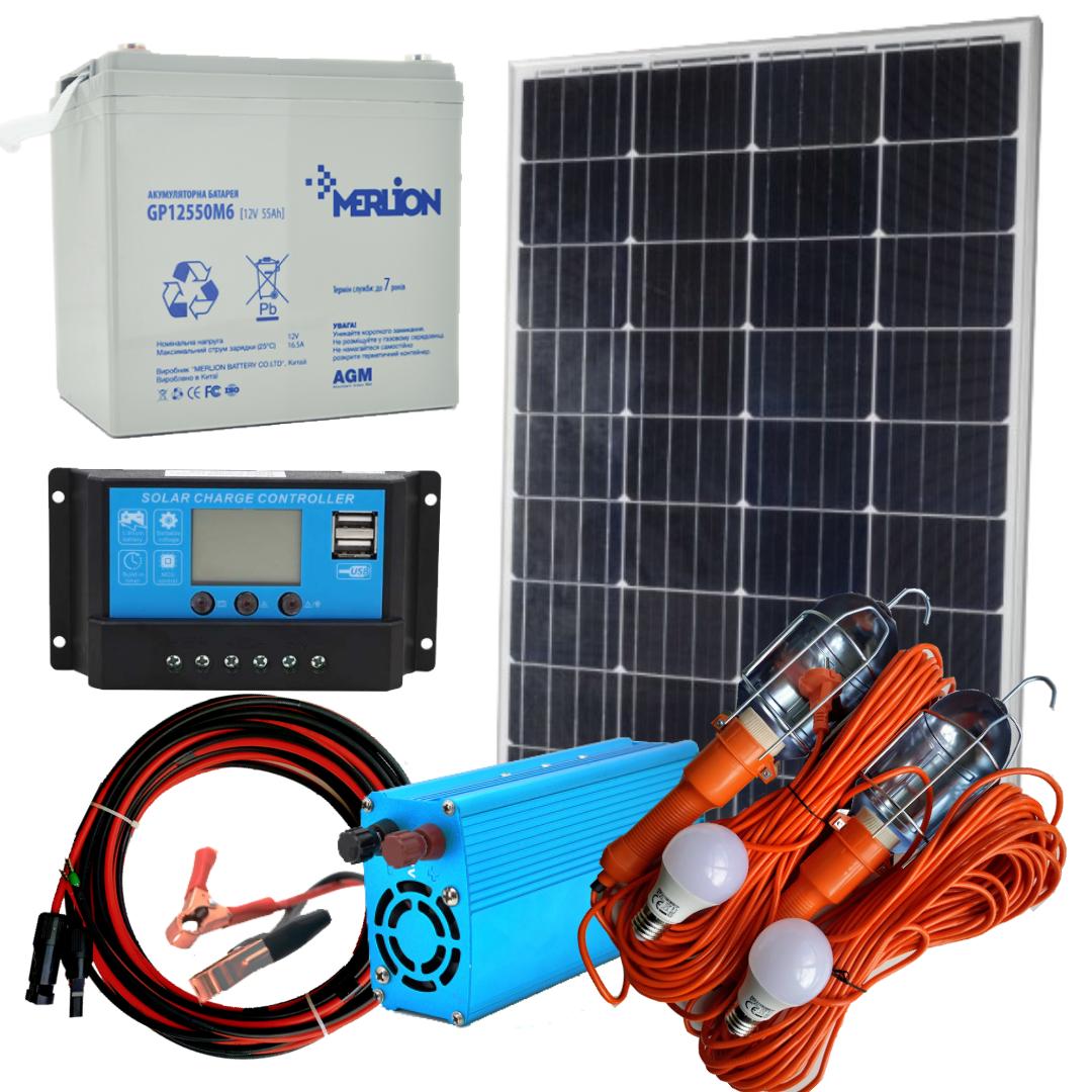 130 Вт комплект солнечной станции Отдых-130+220В Освещение 12В на 2 лампы по 10Вт+USB зарядка
