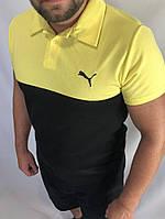 Футболка поло Puma черно-желтая