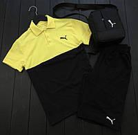Комплект шорты+футболка Пума черно-желтый