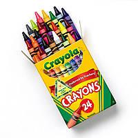 24 шт  разноцветные стандартные восковые карандаши мелки CRAYOLA crayons 24 count.Прямая поставка Америка