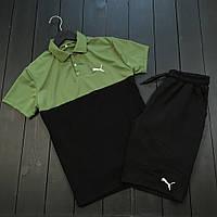 Комплект шорты+футболка Пума черно-зеленый