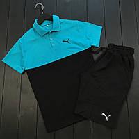 Комплект шорты+футболка Пума черно-синий