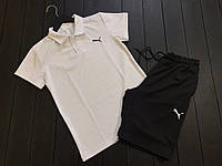 Комплект шорты+футболка Пума черно-белый