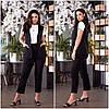 Річний лляний костюм жіночий з брюками чорний (3 кольори) VV/-1414