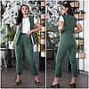 Летний льняной костюм женский с брюками изумрудный (3 цвета) VV/-1414