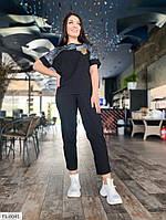 Прогулянковий костюм жіночий красивий з льону футболка і штани великих розмірів 48-62 арт. д41441