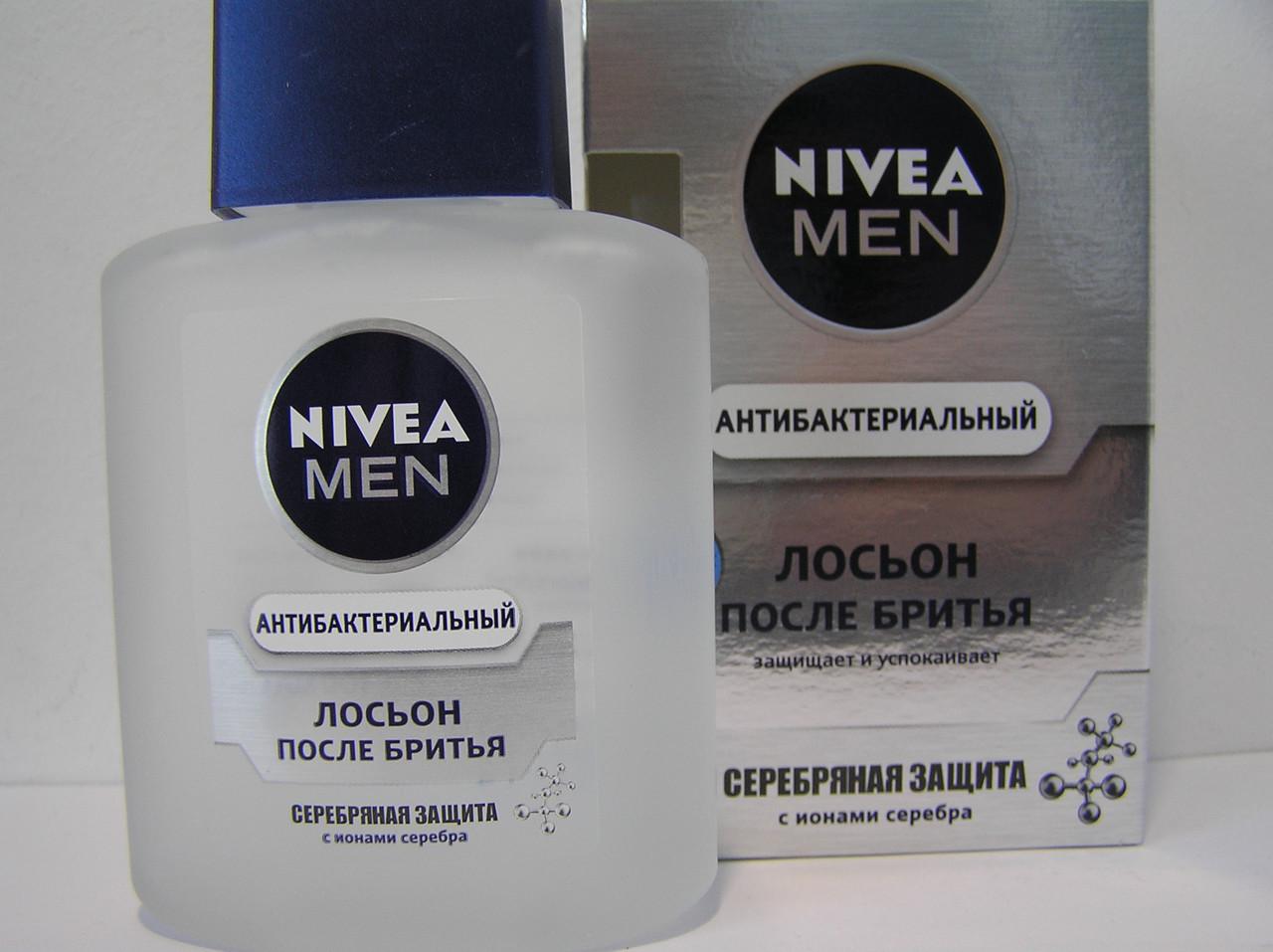 Лосьон после бритья мужской Nivea 100 мл. (Нивея Антибактериальный Серебряная защита)