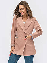 Пиджак  с лацканами и прорезными карманами розовый, 48