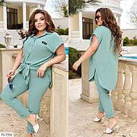 Костюм жіночий гарний на літо подовжена блуза-сорочка з брюками великих розмірів 48-58 арт. 332