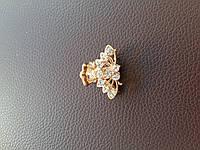 Маленький металлический крабик с камушками (в золоте и серебре) , фото 1