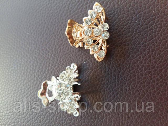 Маленький металлический крабик с камушками (в золоте и серебре)