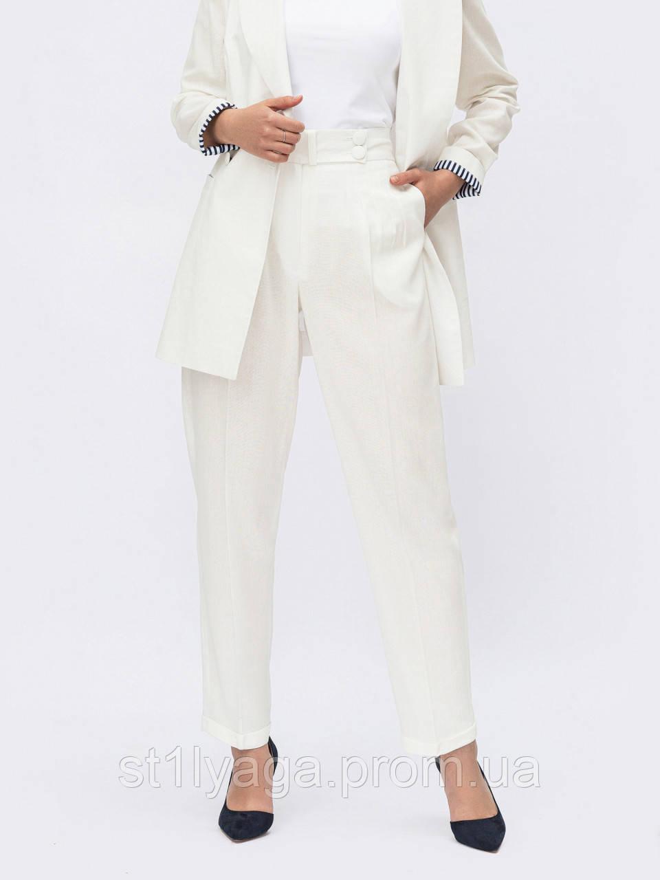 Льняные зауженные белые брюки с высокой посадкой
