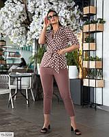 Деловой брючный костюм женский из льна блузка-пиджак и укороченные брюки больших размеров 48-62  арт.  1477