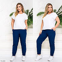 Прогулянковий костюм жіночий річний дихаючий футболка з штанами великих розмірів 48-58 арт. 7591